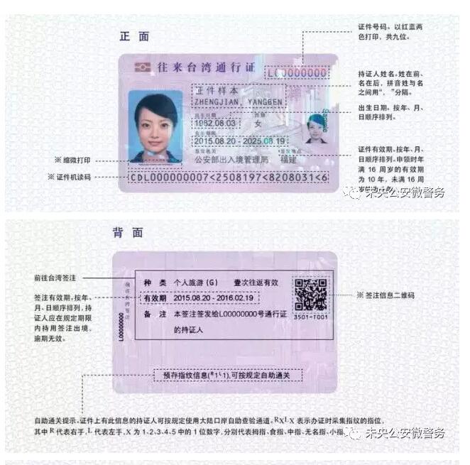 电子版往来台湾通行证